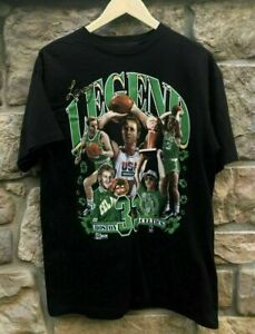 Boston Celtics Larry Bird Legend Black T Shirt Funny Black Cotton Tee Gift Men