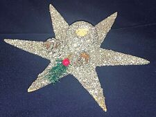 Vintage Christmas Cardboard Silver Glitter Star Candle Holder PineCones Austria