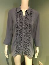 MILLERS Grey Button up Blouse Size 12 Work Evening Dinner (#127)