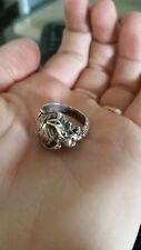 "around Ring Sz 5.5 Vintage ""Tiger"" 3D Sterling Wrap"