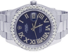 Mens Rolex Datejust II 116300 41MM Stainless Steel Blue Dial Diamond Watch 4 Ct