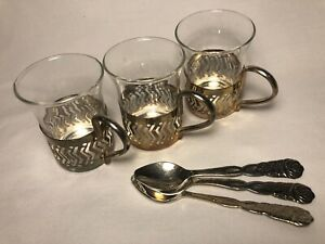 Vintage Set Of 3 Small Glass Set In Silverplated Base With Handle Mini Spoons