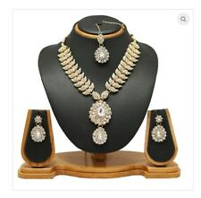 Professional Sale Blue Torquise Cz Ad Indian Bollywood Two Tone Gold Plated Pendant Earrings Set Fashion Jewelry