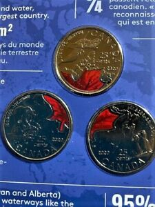 Connecting Canada 3 x 25 cent coloured quarter set