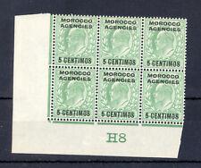 MOROCCO AGEN. SPANISH 1907 ED VII CONTROL H8 5 CENTIMOS BLOCK. UNPERFORATED MNH