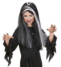 Kids Girls Black White Witch Wig Glow In Dark Hair Vampire Halloween Fancy Dress