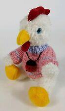 "1999 HugFun White Chicken in Pink Knit Sweater With Plush Ladybug  8"" Tall"
