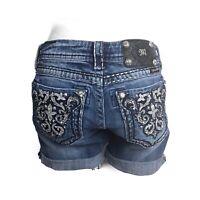 Miss Me Jean Shorts Blue Denim Bling Pockets Cuffed Size 26