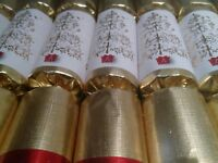 Xmas CRACKERS Set The Olde English Cracker Co gold red white set of 8 classy