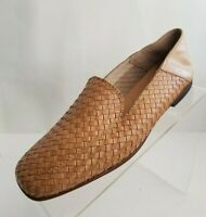 Sesto Meucci Loafers Woven Apron Toe Tan Leather Slip On Shoes Italy Sz 7.5M NEW