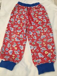 Vintage Oshkosh Red Dinosaur Pants Size 4T Elastic Waist Dino Colorblock Pockets