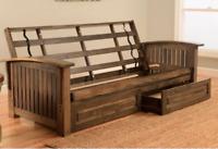 "Kodiak full 81"" Tucson futon frame w drawer set, rustic walnut. NO mattress"