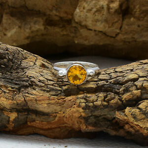 Handsome Citrine Topaz Gemstone 925 Sterling Silver Handmade Ring All Size