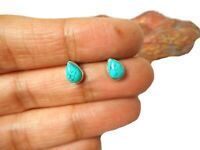 Teardrop shaped TURQUOISE  Sterling  Silver  925  Gemstone  Stud Earrings
