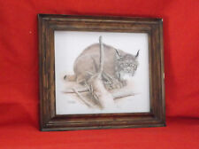 "Beautiful ""Canada Lynx"" J.R.Lumbers-Signed/Framed Print-1970-13 3/4 X 12"""