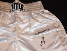 OLYPIANS MICHAEL SPINKS & LEON SPINKS AUTOGRAPHED SIGNED TITLE BOXING TRUNKS