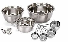 12pc Stainless Steel Mix and Measure Spoons Cups Mixing Bowls Whisk SET 8,5,3 QT