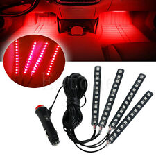 Red Car SUV Interior Light 4x12LED Atmosphere Decorative Light Neon Lamp Strips