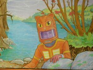 Original David Birkey Painting Anime Hazmat Suit Astronaut Barium Lake Surreal