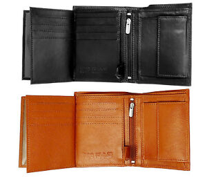 Man RFID Blocking Wallet Soft Real Leather Trifold Credit Card Holder Purse 503