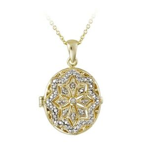 """18K Gold Plated Diamond Accent Filigree Oval Locket Necklace, 18"""""""