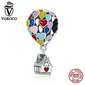 Real S925 Sterling Silver Dream hot air balloon Charm Fit Women Bracelets VOROCO
