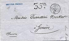 """Lettre Cachet Paris """"J"""" Taxe 35cs pour Genève Suisse Cover Switzerland"""