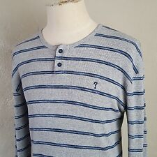 VTG 90s ~ Guess ~ Gray/Blue Striped Henley Thermal ~ Waffle ~ USA Made ~ M/L