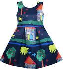 Sunny Fashion Girls Dress Tree House Cat Butterfly Bird Flower Print Size 4-10