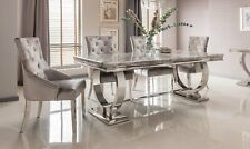 'Adrianna' Chrome & Grey Marble Top Dining Table - 200cm - 6 Chairs - NEW