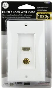 High Speed Ethernet HDMI Coaxial Coax White Wall Face Plate Connector Jack 40655