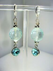 FACETED POLISHED AQUAMARINE EARRINGS WITH STERLING SILVER LEVERBACKS