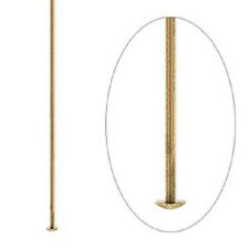 6112FY Headpin Head Pin Jewelry Finding Antiqued Brass, 2 in,  21ga, 100 Qty