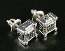 WHITE GOLD FINISH ICE CUBE BLOCK MENS/LADIES DIAMOND STUD EARRINGS 8 MM