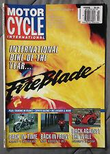MOTORCYCLE INTERNATIONAL MAGAZINE 1993 FEBRUARY FIREBLADE RF600R NICO BAKKER QCS