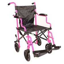Ultra Lightweight pink Folding travel transport aluminium wheelchair in bag