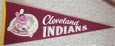1960's CLEVELAND INDIANS Full Size Pennant CHIEF WAHOO Maroon Version