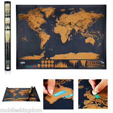 Deluxe Scratch Off World Map Art Poster Personalized Travel Log Vacation Gift