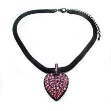 Pink sparkly crystal heart necklace diamante bridal prom FREE gift bag