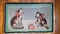 """Folk Art Antique Pictorial Kittens Playing with Yarn Hand Hooked Rug 24x35"""""""