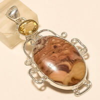 Natural Mexican Crazy Lace Agate Amethyst Pendant 925 Sterling Silver Jewelry