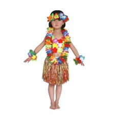 Vogue Kids Hawaiian Hula Grass Skirt Lei Headband Wristband Dance Dress Costume Red 1pcs
