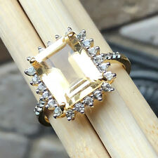 Natural 3.25ct Golden Citrine, White Topaz 14k Vermeil Gold Over Silver Ring 8
