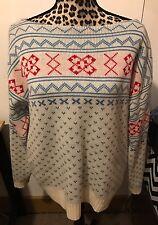PURITAN Wool Blend Boat Neck Nordic Ski Sweater White Blue Red Women Size L A26