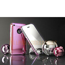 Pink Chrome Finish Hard Back Shiny Cover Case Skin For Apple iPhone 3GS 3G