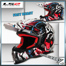 CASCO CROSS ENDURO MOTARD MOTOCROSS LS2 MX437 FAST BEAST TAGLIA XXL BLACK WHITE