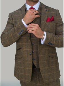Mens Cavani Tweed Check Albert Brown Peaky Blinders Formal Wedding 3 Piece Suit
