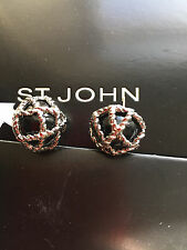 NEW ST JOHN KNIT WOMENS SILVER COLOR DESIGNER JEWELRY EARRINGS BLACK ROUND