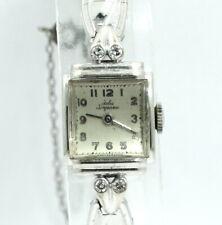 Vintage Ladies JULES JURGENSEN 14K White Gold DIAMOND 17 Jewel Winding Watch