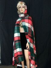 Vtg 70s Long Plaid Cape Poncho Coat Wrap Blanket Open Detach Hood Fuzzy One Size